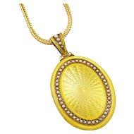 Rare Antique Edwardian 14K Yellow Enamel & Pearl Locket Pendant by Sloan