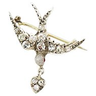 Antique French Edwardian 800 Silver Paste Swallow with Heart Brooch Pin
