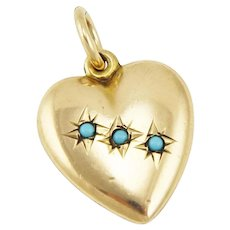 Antique Gold Filled Puffed Heart Charm Pendant with Star-set Glass Turquoise
