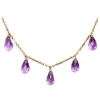 Vintage 9 K gold Amethyst Briolette Dangle Fringe Necklace