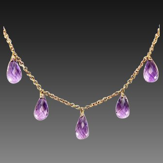Vintage 9 K gold Amethyst Briolette Dangle Fringe Necklace