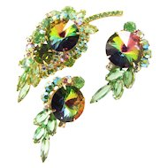Vintage D&E Juliana Green & Pink Rhinestone Watermelon Rivoli Brooch Earring Set