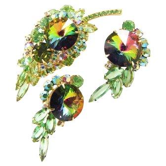 Vintage D&E Juliana Green & Pink Rhinestone Watermelon Rivoli Brooch Earring Set