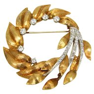 Large Mid-Century 18K Gold & Diamond Foliate Brooch