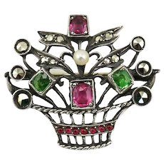 Antique French 800 Silver Paste & Marcasite Flower Basket Giardinetti Brooch