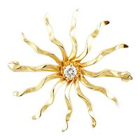 Vintage 14K Gold Diamond Star Starburst Brooch Pin