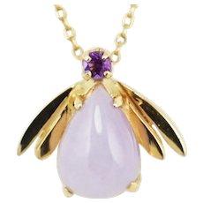 Vintage 14K Gold Lavender Jade Amethyst Bee Pendant