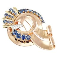 Vintage Retro 1940s 14k Gold Sapphire Diamond Ribbon Brooch