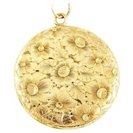 Antique XL 14K Gold Edwardian Two-Sided Floral Engraved Locket Pendant