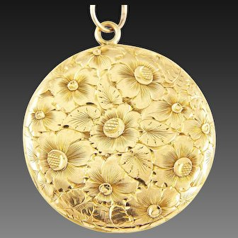 Antique XL 14K Gold Edwardian Two-Sided Floral Engraved Locket Pendant