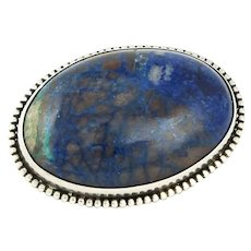 Vintage Southwest Handwrought Sterling Azurite Chrysocolla Quartz Cabochon Brooch