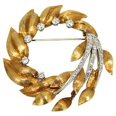 Large Mid-Century 18K Gold & Diamond Wreath of Leaves Brooch