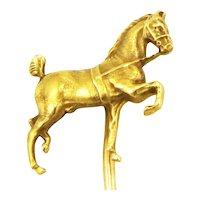 Antique Edwardian 14K Gold Sloan Prancing Horse Equestrian Stick Pin Stickpin