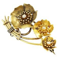 Antique Edwardian 14K Gold Diamond Dog Rose Flower Spray Brooch Pin