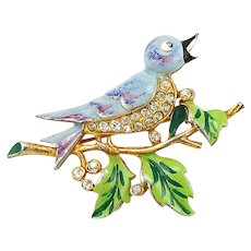 Vintage Early 1940s Enamel Rhinestone Blue Bird Brooch