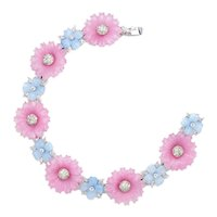 Vintage Patented Mazer Pastel Poured Glass Flowers Bracelet