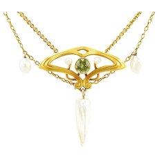 Antique Art Nouveau 14K Gold Peridot and Pearl Festoon Necklace
