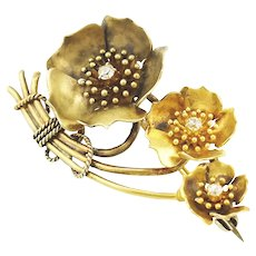 Antique Edwardian 14K Gold Diamond Wild Rose Flower Spray Brooch Pin