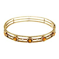 Antique Edwardian 14K Newark Citrine and Pearl Bangle Bracelet