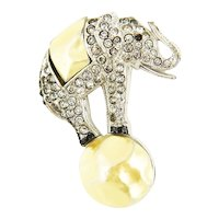 Vintage 1930s Enamel Faux Pearl Rhinestone Circus Elephant Brooch Unsigned Trifari