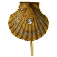Antique Victorian Hedges & Co. 14K Multi Color Gold & Diamond Sea Shell Pin Stickpin