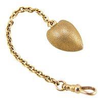 Antique Victorian 14K Gold Almond Locket Watch Fob Pendant