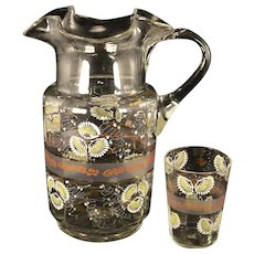 Antique Enameled Floral Victorian Art Glass Ruffled Top Water Pitcher Jug with Tumbler Bedside Table Nightstand Beverage Set