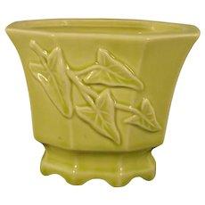 Vintage 1950's Mid-Century American Art Pottery Chartreuse Ivy Vine Leaf Flower Pot Planter Vase