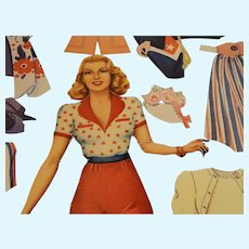 Vintage 1942 Original LANA Turner Paper Doll With Clothes Cut by Whitman Publishing