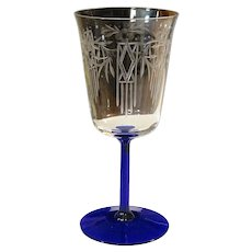 Noblesse Oneida Community Crystal 1930 NOBLESSE Art Deco Etched Water or Wine Goblet With Cobalt Ribbed Stem Silverplate Pattern