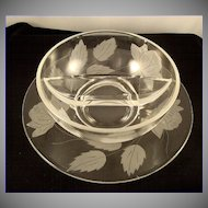 Vintage 1940 Crystal Etched ROSES Divided Mayonnaise Bowl With Underplate