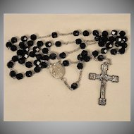 Vintage 1940's Catholic Sterling Silver & Black Glass Faceted Beads Sacred Heart of Jesus Rosary