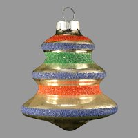 Vintage 1940's Shiny Brite USA Colored Mica Glass Christmas Tree Bell Shaped Ornament With Orange, Blue & Green Stripes