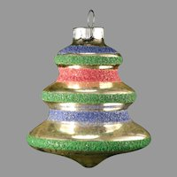 Vintage 1940's Shiny Brite USA Colored Mica Glass Christmas Tree Bell Shaped Ornament With Blue, Pink & Green Stripes