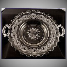Large Antique 1882 EAPG Chain With Star Victorian Handled Bread or Cake Plate