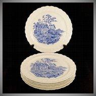 "Set 6 Vintage 1930's Taylor Smith Taylor TS&T Blue Castle 9"" Dinner Plates Garland"