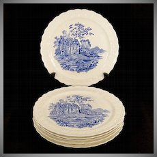 "Set 6 Vintage 1930's Taylor Smith Taylor TS&T Blue Castle 9"" Dinner Plates Garland"