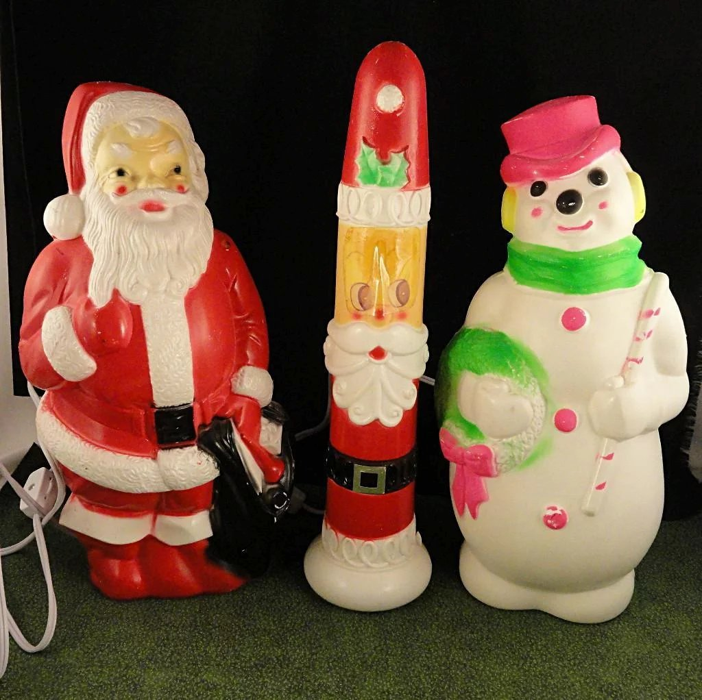 3 Vintage Christmas Empire Blow Mold Plastic Lighted