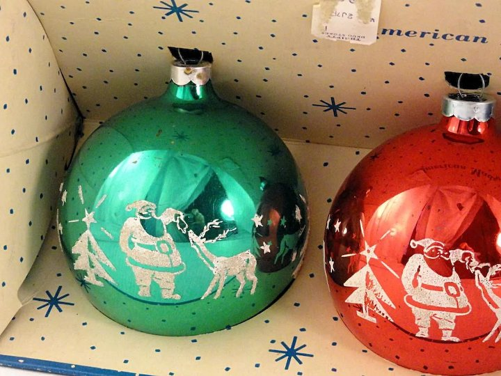 vintage 1965 trio jumbo paragon usa glass flocked ball christmas ornaments santa with reindeer stencil in