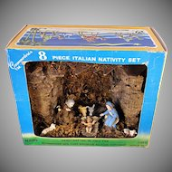 Commodore Italian 8 Piece Christmas Nativity Set Manger Scene ~ Holy Family In Stable