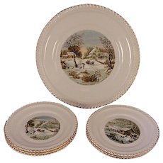 7 Pc. Set Vintage Harkerware U.S.A. Currier & Ives Homestead Cake Serving Set With Dessert Plates