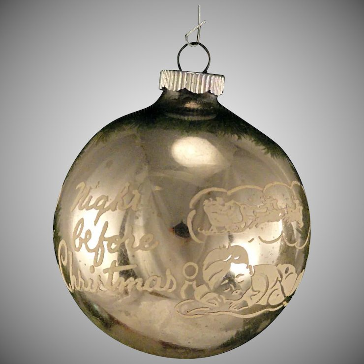 large jumbo silver shiny brite night before christmas vintage glass stencil scene christmas tree ornament