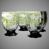 Set 4 Vintage 1930's Etched Depression Glass Black Lily Pad Footed Juice or Water Glasses Tumblers
