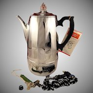 Beautiful Unused Vintage 1950 Continental Auto Perk 12 Cup Automatic Electric Coffee Pot Percolator