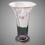 Large Antique Circa 1917 Duncan and Miller Glass Floral Enamel Painted Flared Vase