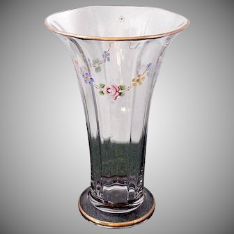 Large Vintage Circa 1917 Duncan and Miller Glass Floral Enamel Painted Flared Vase