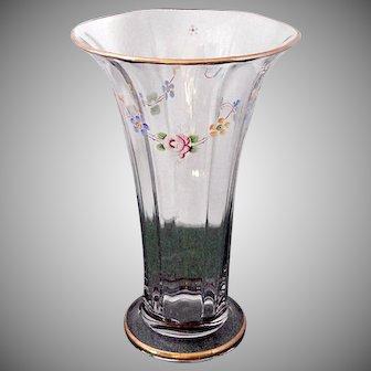 Large Vintage Circa 1917 Duncan and Miller Glass Floral Enamel Painted Flared Vase