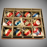 Amazing Box 12 Premier Assorted Patriotic Shapes Balls Ornaments Vintage 1940's Glass Christmas Bulbs