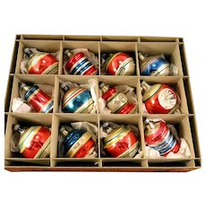 Amazing Box 12 Premier Assorted Patriotic Shapes Balls Ornaments Vintage 1940's Glass Christmas Bulbs