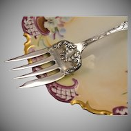 Antique Victorian 1890 Kensico Silverplate Fancy Meat Serving Fork by Rockford Silver Co.